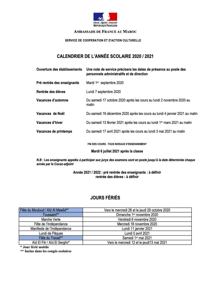 Calendrier scolaire – Ecole Georges Bizet